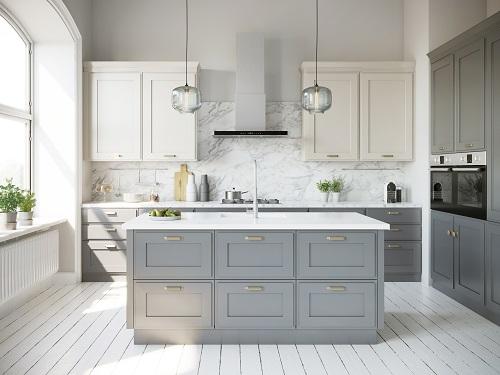 Moderne graue Küche