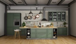 Salbeifarbene Landhaus Küche
