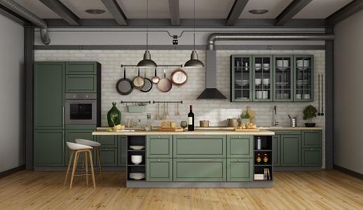 Salbeifarbene Landhaus-Küche